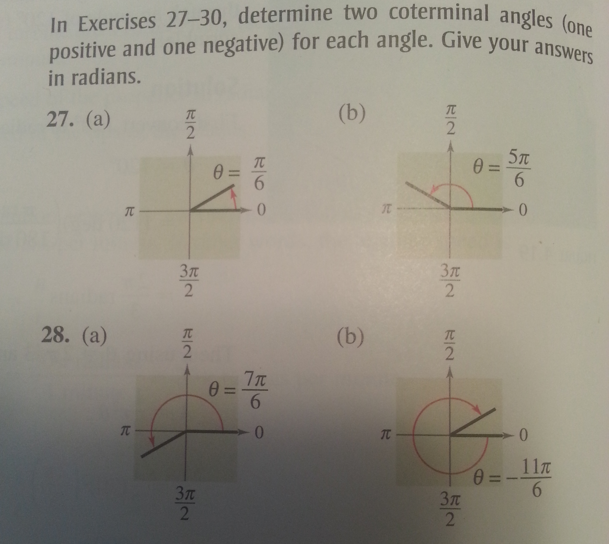 Solved: In Exercises 27-30, Determine Two Coterminal Angle