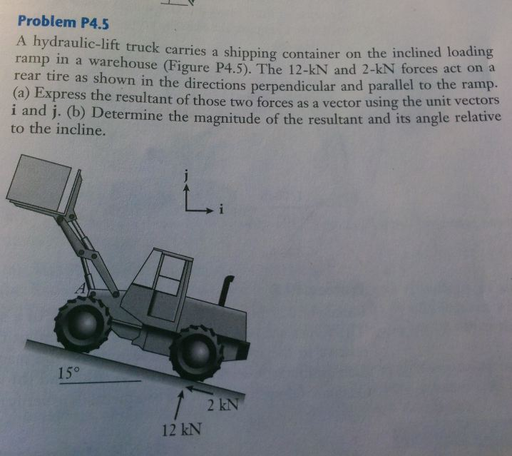 Problem P4.5 A hydraulic-lift truck carries a shi