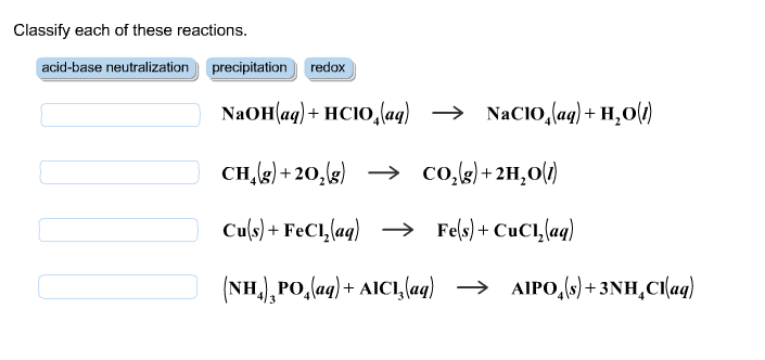 Solved: Classify Each Of These Reactions. NaOH(aq) + HClO4 ...