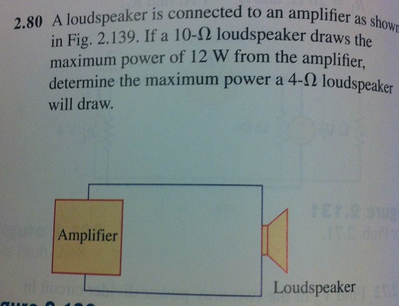 A loudspeaker is connected to an amplifier as show