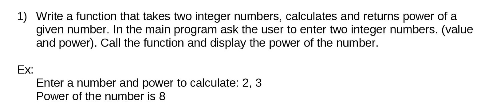 write a power function in c