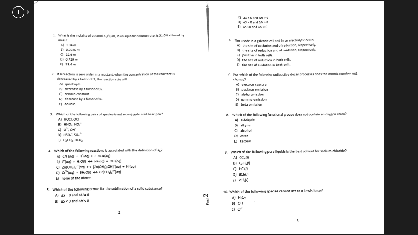 Chemistry study guide help?