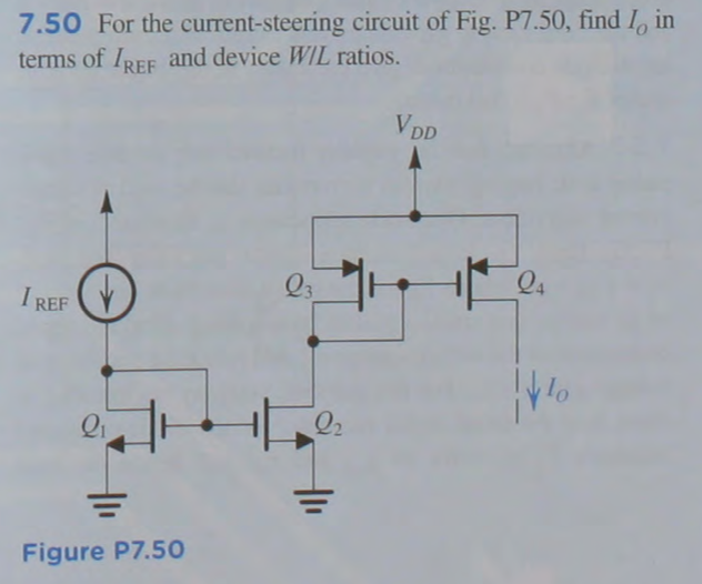 For the current-steering circuit of Fig. P7.50, fi