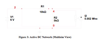 Figure 3: Active DC Network (Multisim View)
