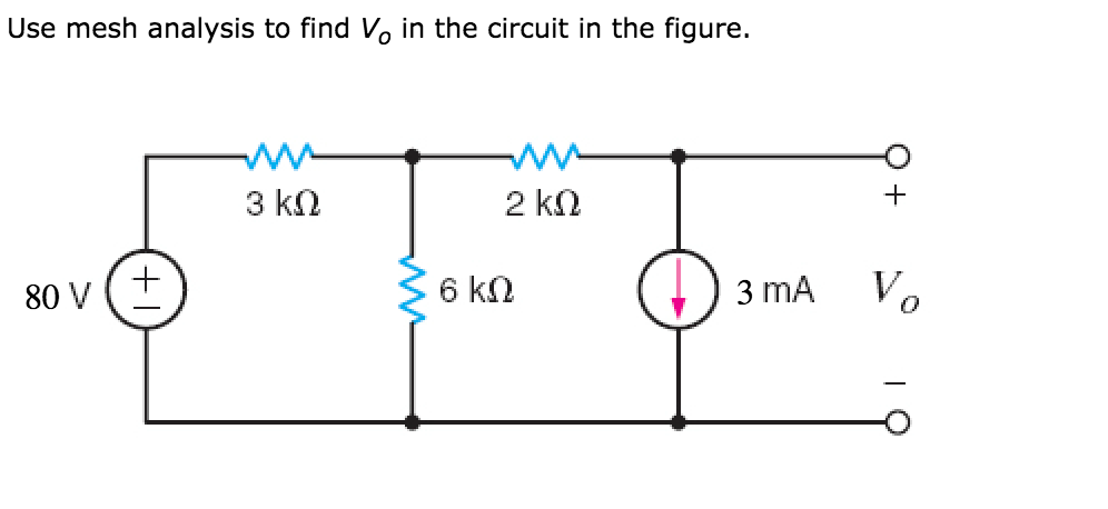 solved  use mesh analysis to find vo in the circuit in the