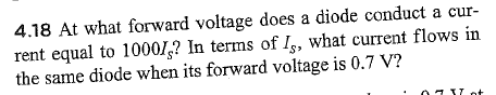 At what forward voltage does a diode conduct a cur