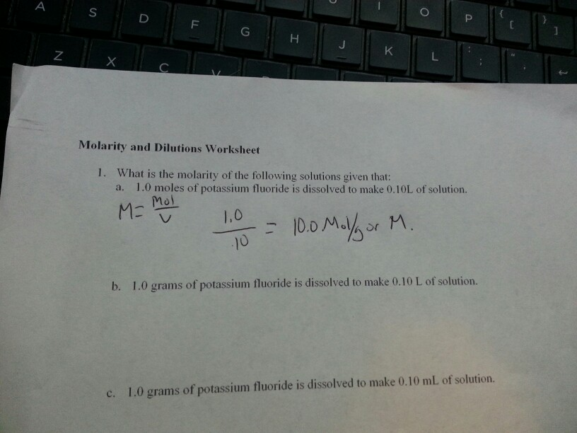Solved Molarity And Dilutions Worksheet 1 What Is The Mo