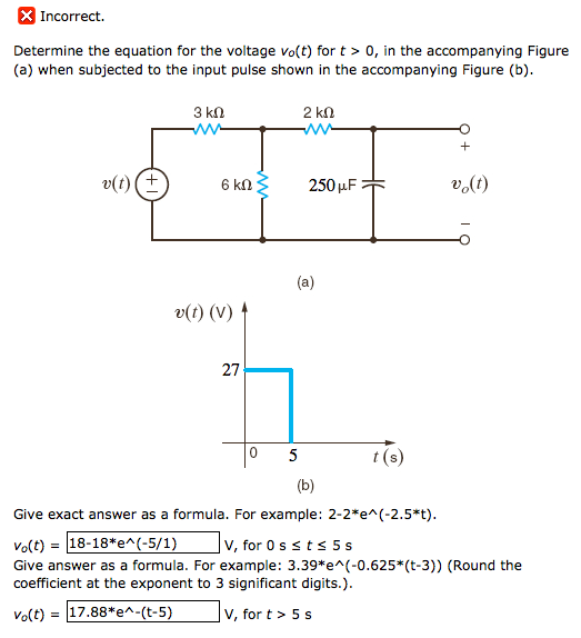 Solved: Determine The Equation For The Voltage Vo(t) For T