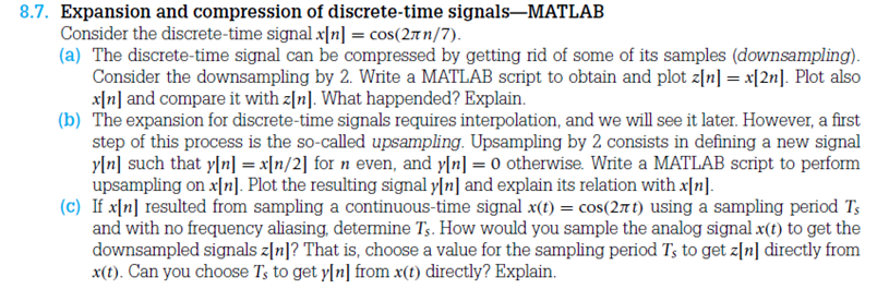 Expansion and compression of discrete-time signals