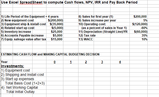 payback period template - solved use excel to compute cash flows npv irr and pay