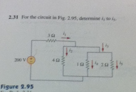 For the circuit in Fig. 2.95, determine i1 to i5.