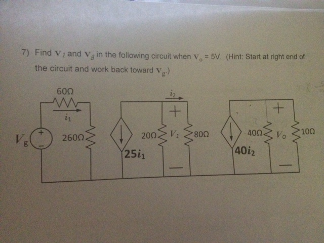 Find V 1 and Y beta in the following circuit when