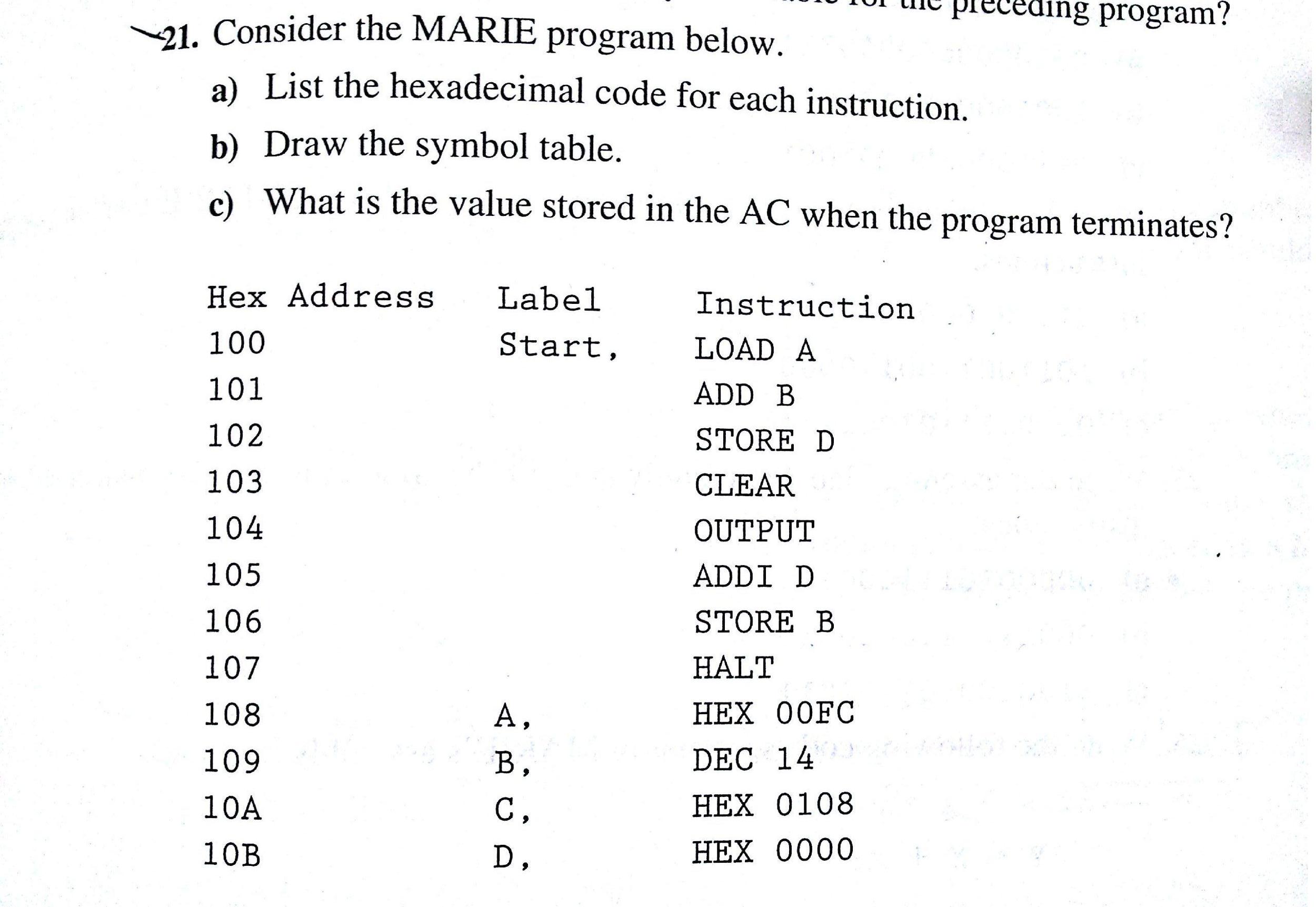 Preceding Program Consider The Marie Program Belo Chegg