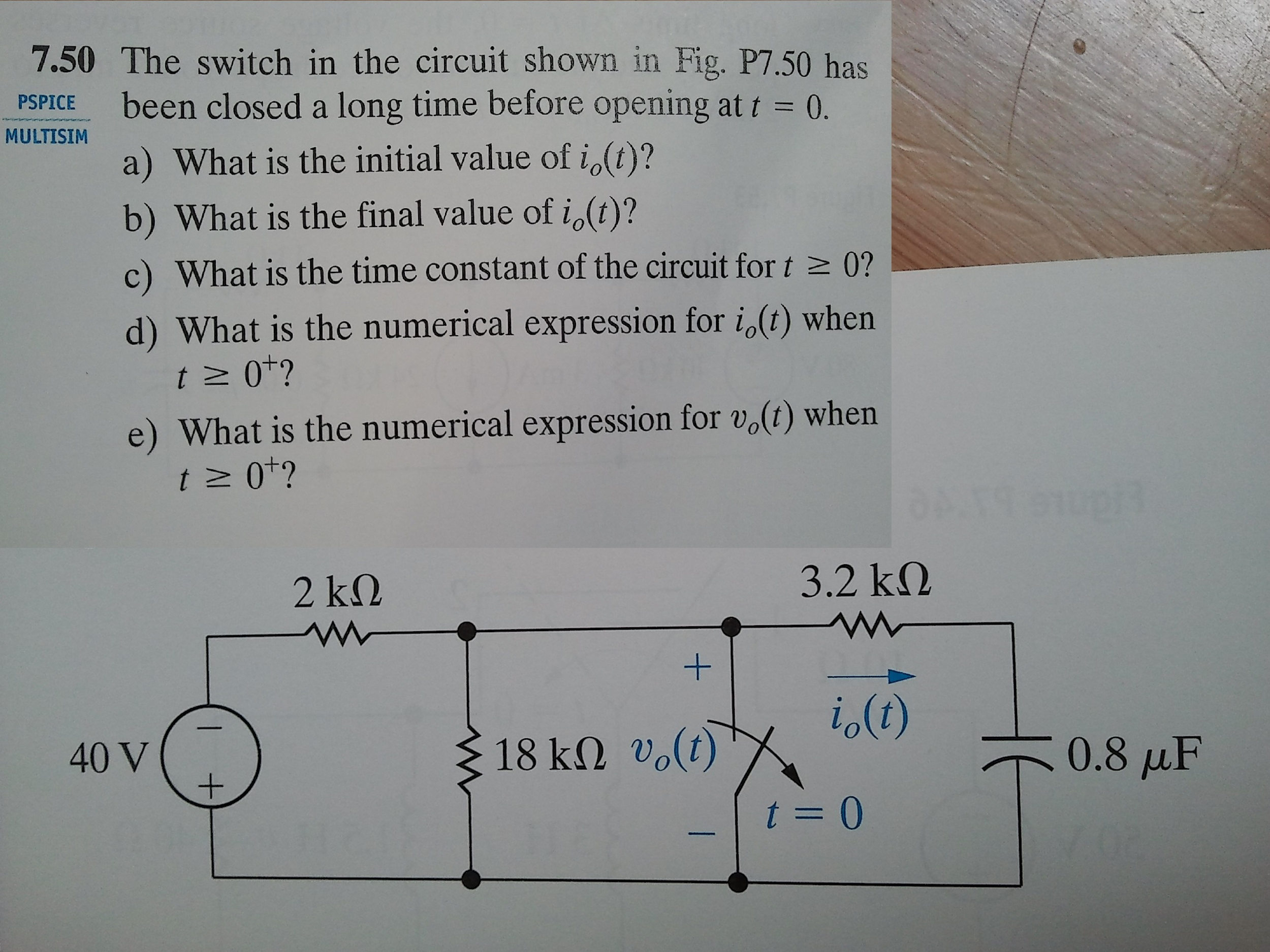Solved: The Switch In The Circuit Shown In Fig. P7.50 Has ...