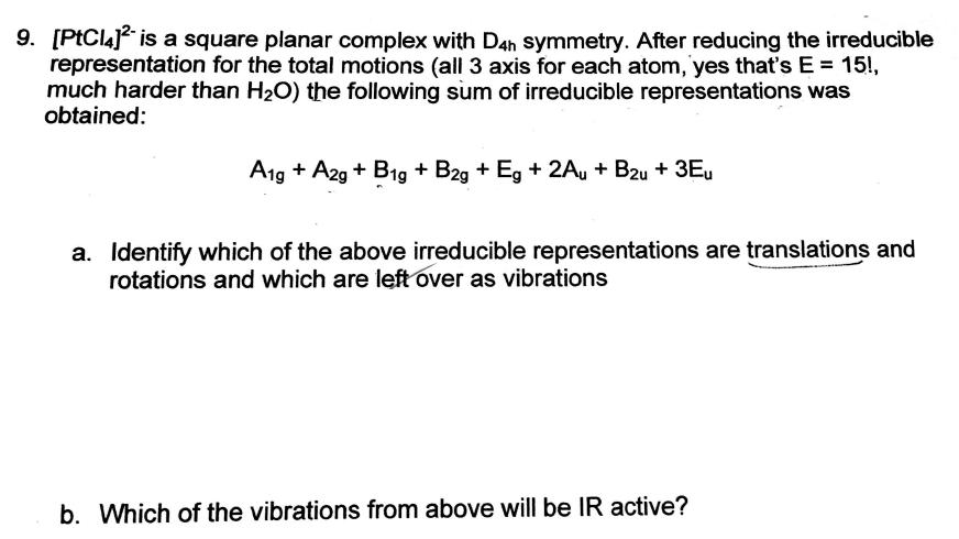 PtCl4]2- Is A Square Planar Complex With D4h Symm    | Chegg com