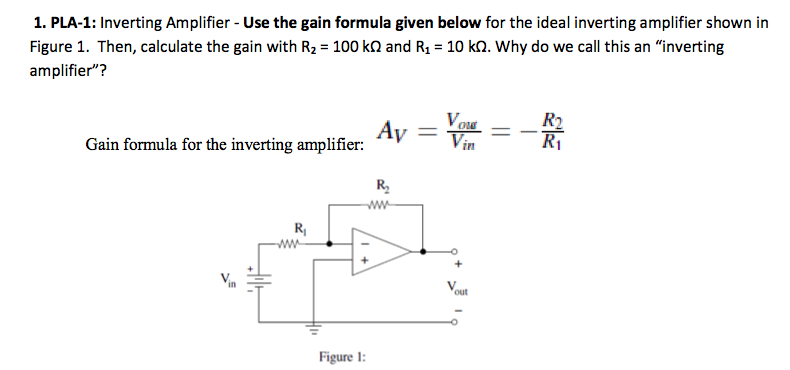 Inverting Amplifier - Use the gain formula given b