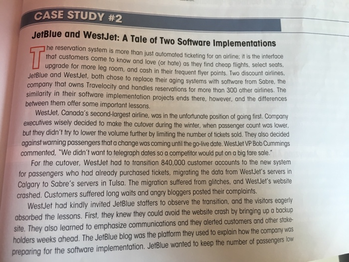 jetblue and westjet a tale of two is projects case study questions