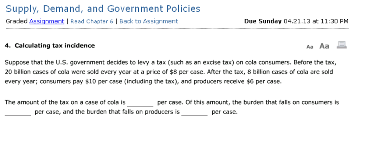 solved calculating tax incidence suppose that the u s go