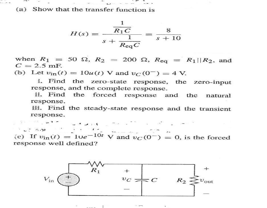 Show that the transfer function is Let vin(t) = 1