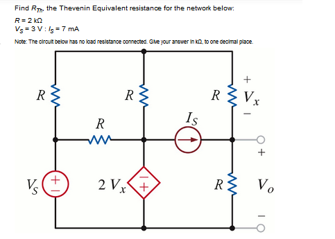 Find Rth. the Thevenin Equivalent voltage source f