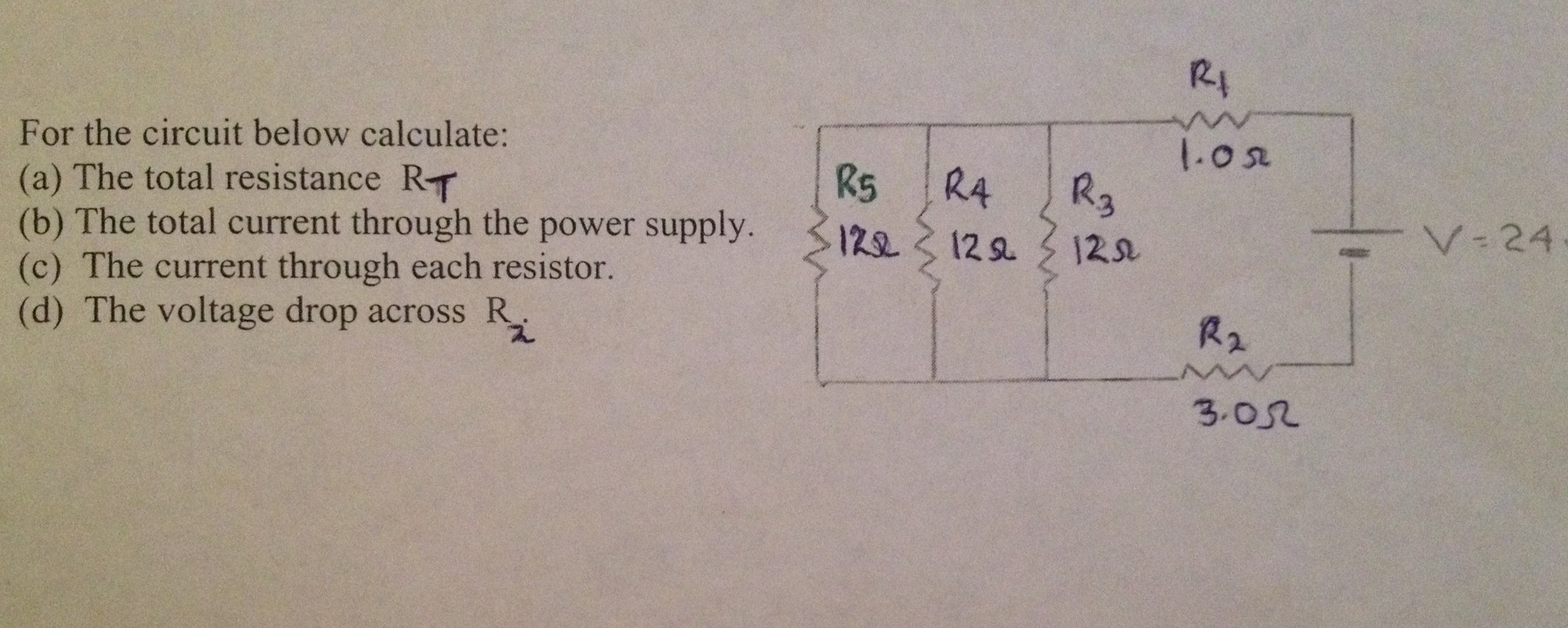 Solved For The Circuit Below Calculate Total Resista Find Equivalent Resistance Rt Of Given Cheggcom Resist