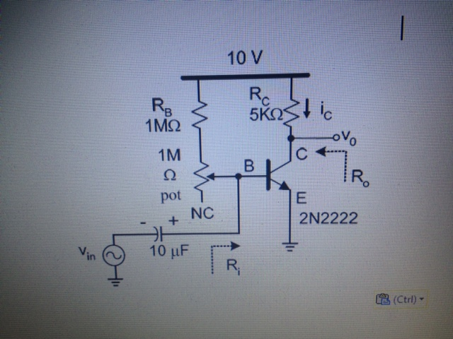 Assume the transistor given in the image below has