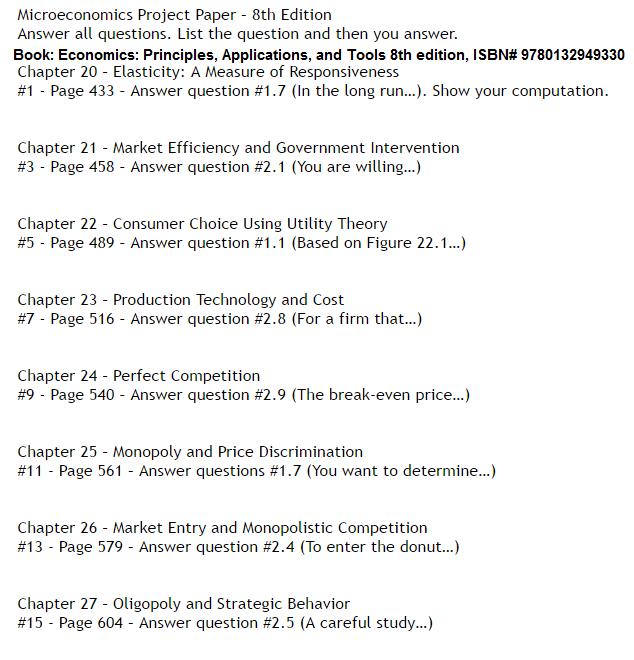 Principles of microeconomics essay questions