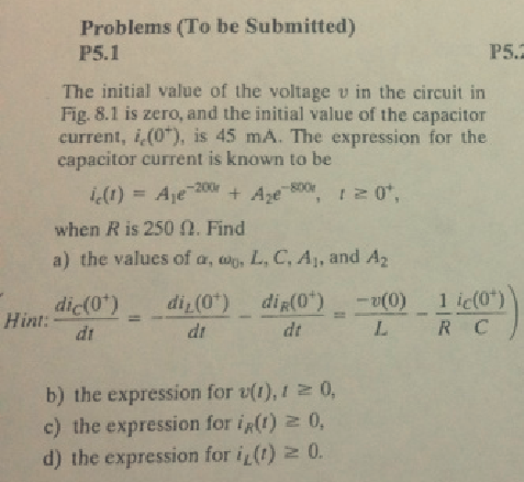 The initial value of the voltage v in the circuit