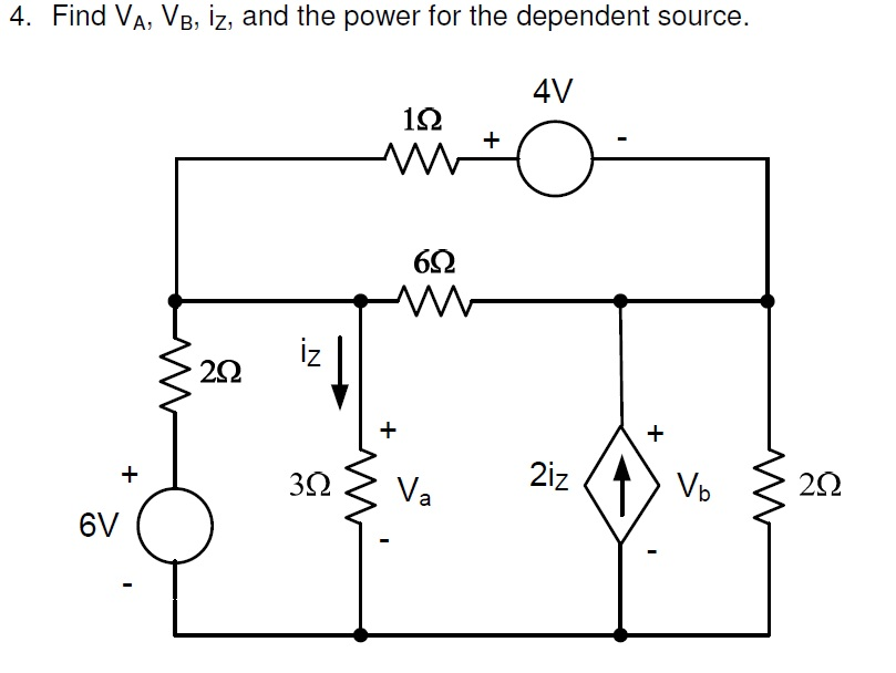Find VA, Vb, iz, and the power for the dependent s