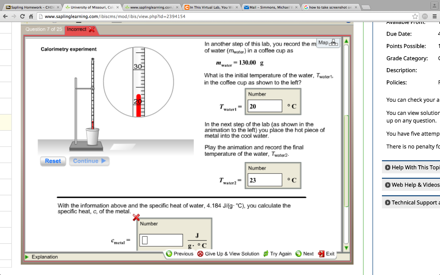 Specific heat capacity questions and equation