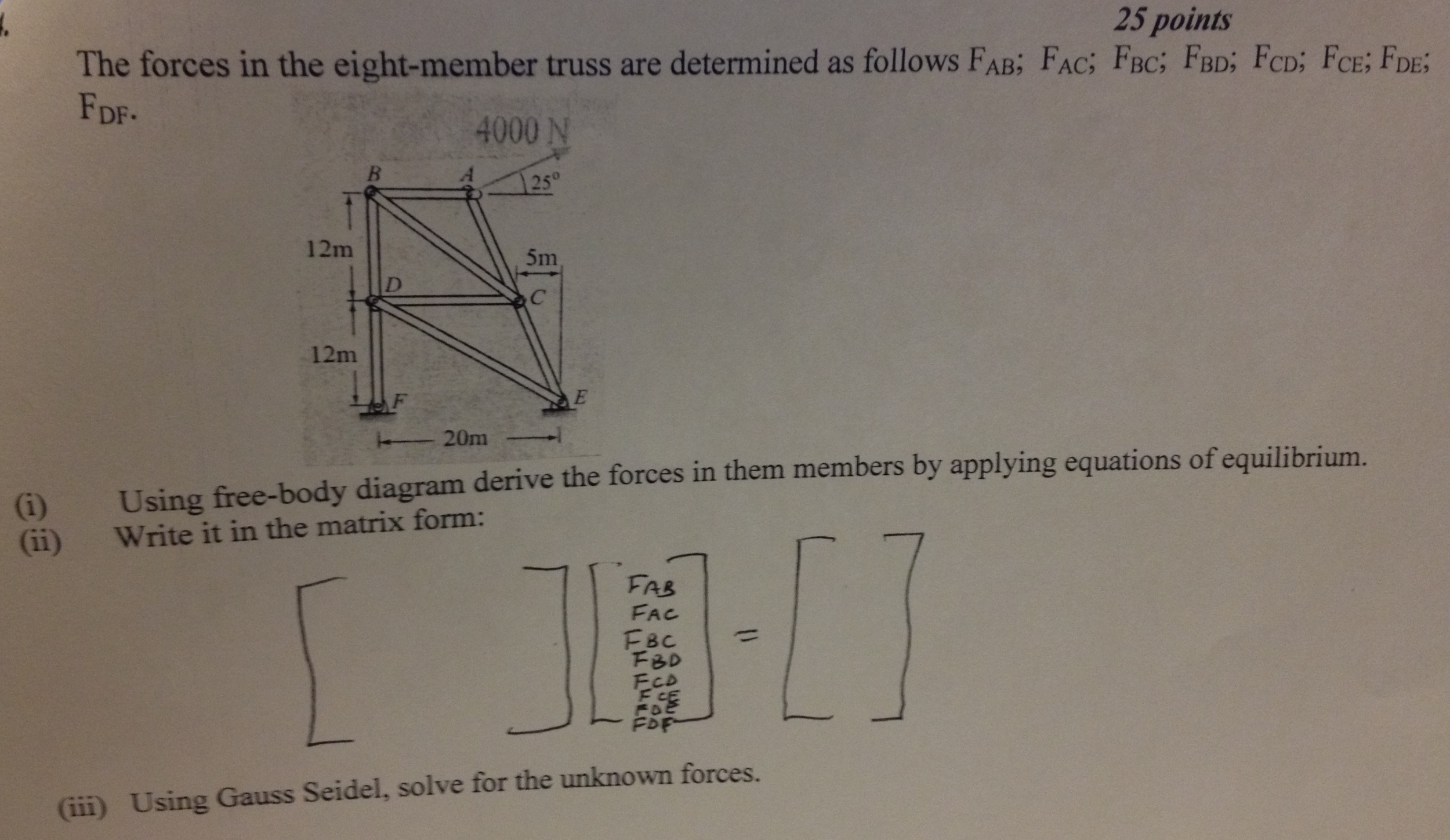 Solved The Forces In Eight Member Truss Are Determine Free Body Diagram Form A And Solve Question Determined As Follows Fab Fac Fbc Fbdfcd Fcefde Fd