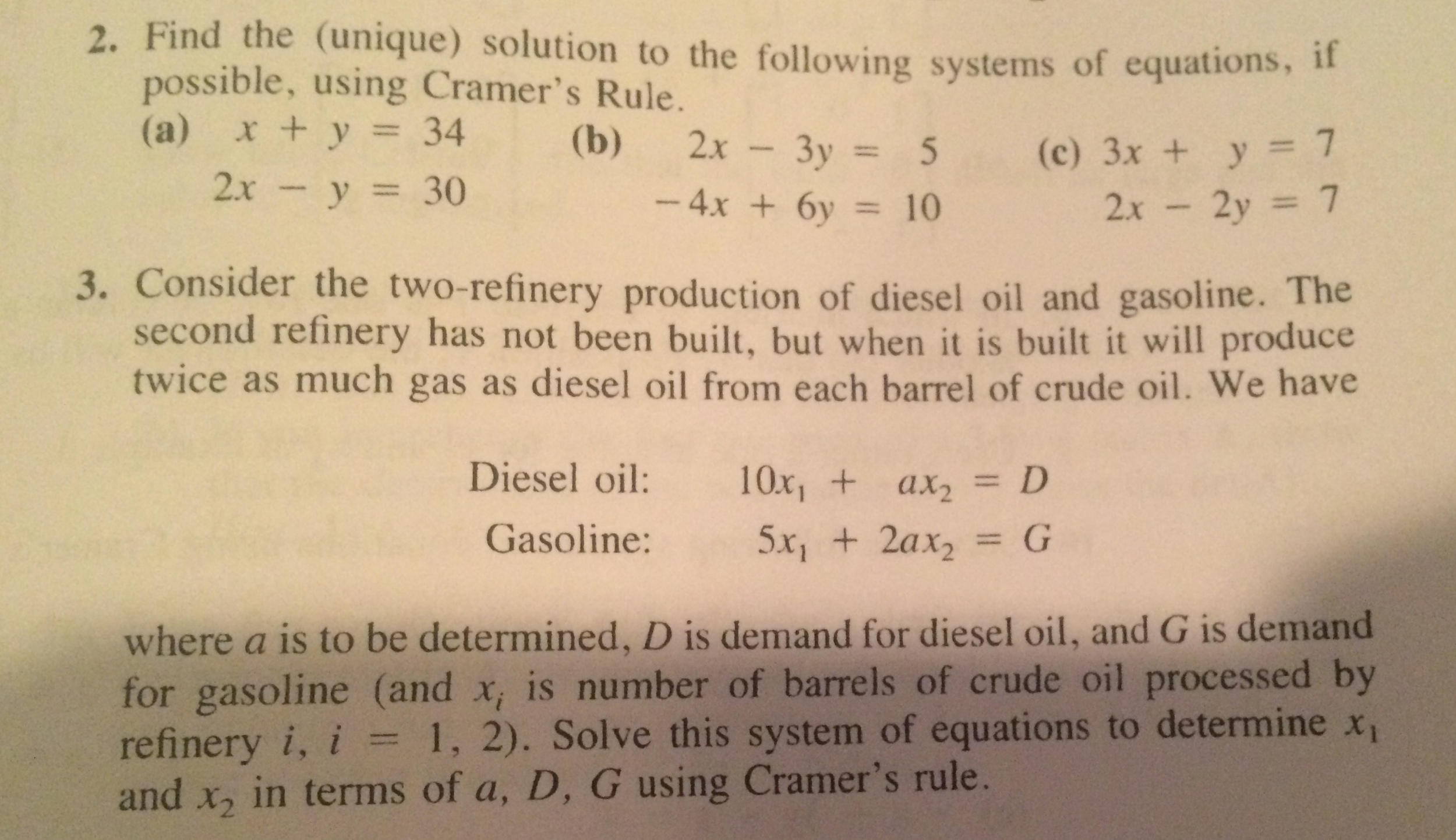 oil refinery calculus problem