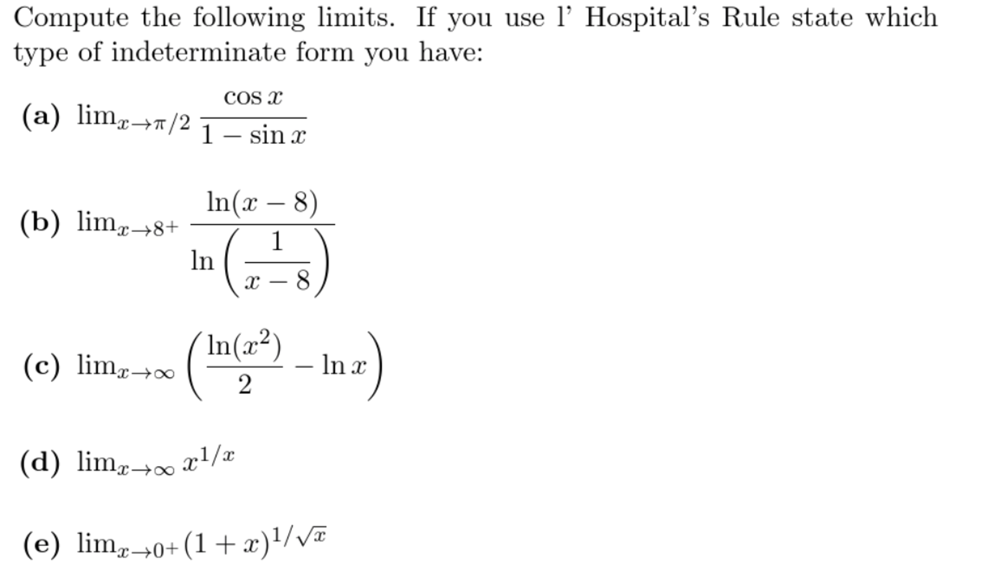 lhopitals rule for indeterminate forms homework solutions