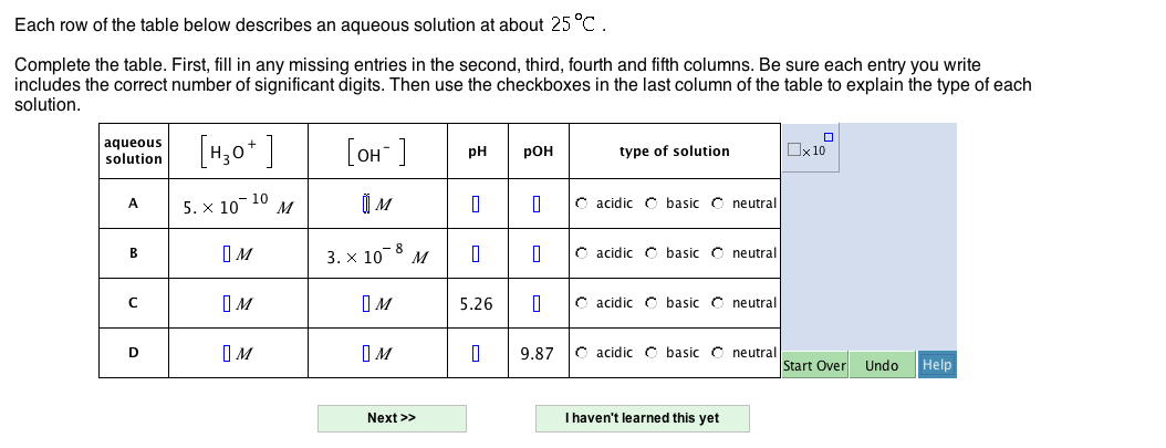 Each row of the table below describes an aqueous s