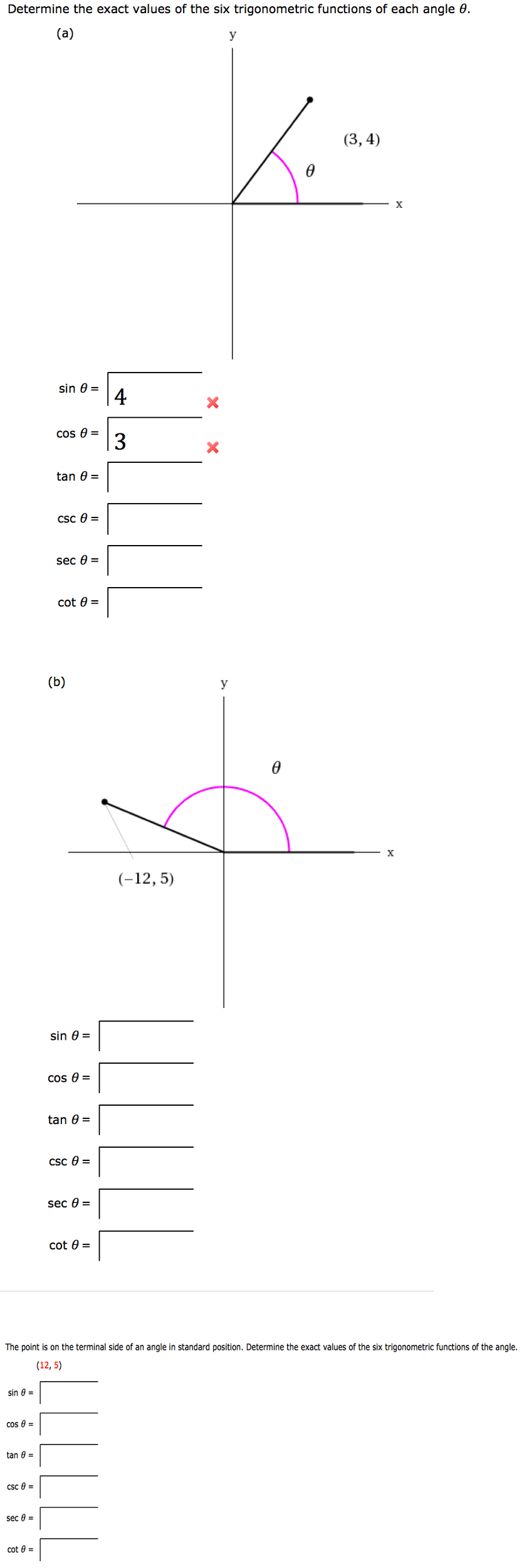 solved determine the exact values of the six trigonometri. Black Bedroom Furniture Sets. Home Design Ideas