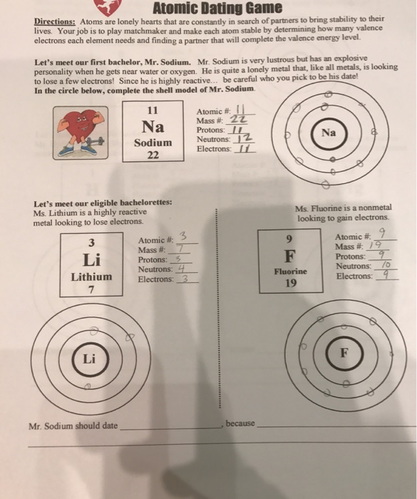 Atomic dating game worksheet key