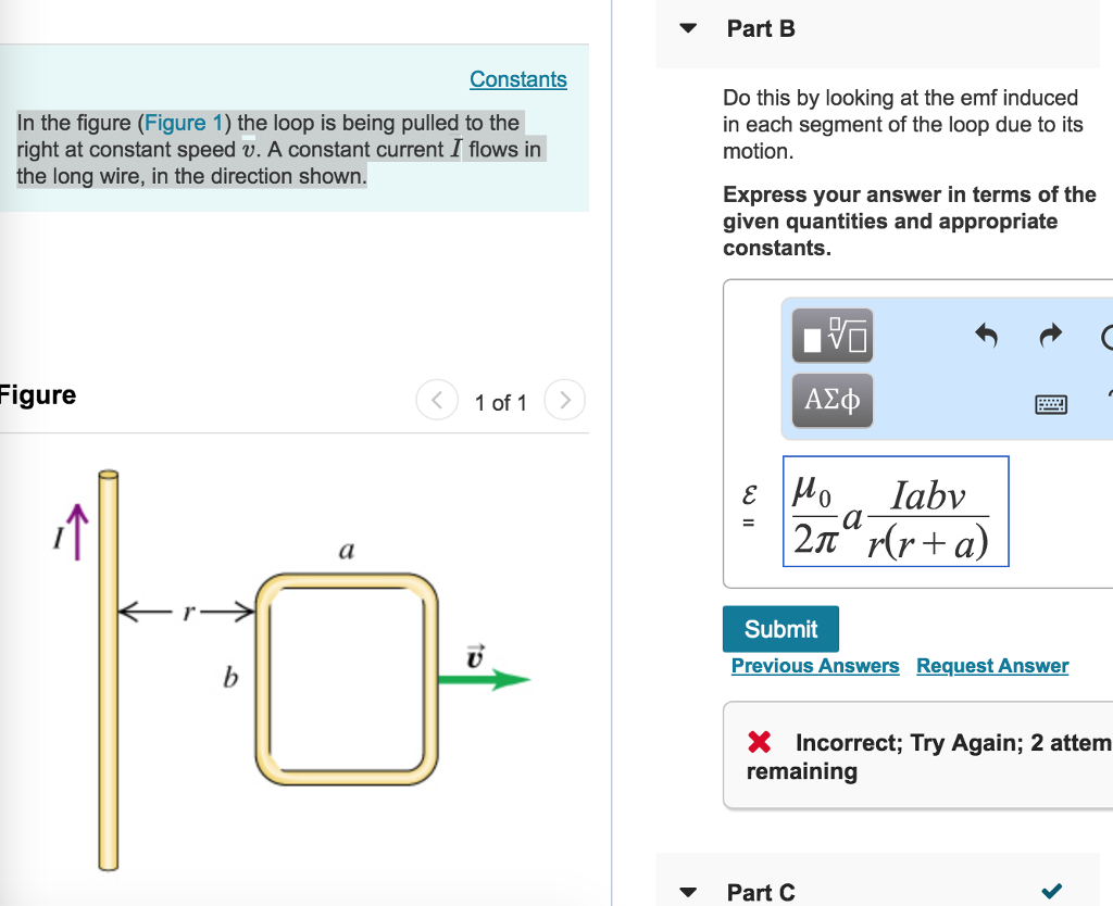 Solved: Part B Constants In The Figure (Figure 1) The Loop ...