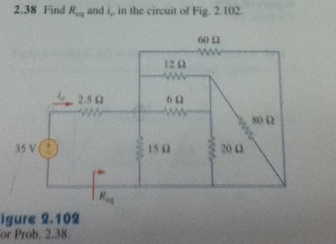 Find Req and i0 in the circuit of Fig. 2.102. Fig