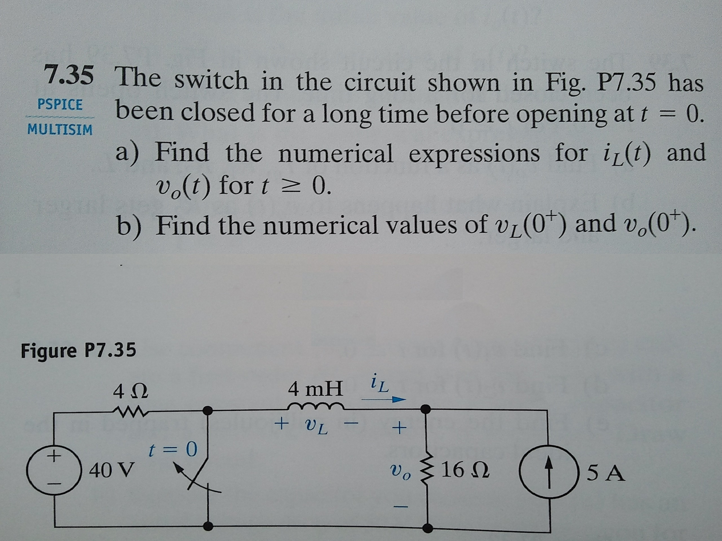 Solved: The Switch In The Circuit Shown In Fig. P7.35 Has ...