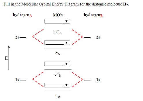 Solved: Fill In The Molecular Orbital Energy Diagram For T ... H2 Molecular Orbital Diagram