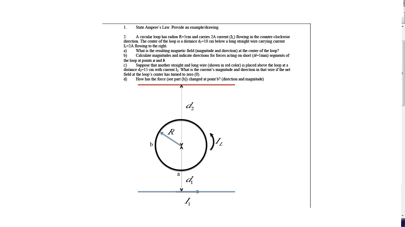 State Amperes Law Provide An Example Drawing The Circuit Above Contains 5 Resistors R1 R2 Cheggcom Question A Circular Loop Has Radius R 5cm And Carries