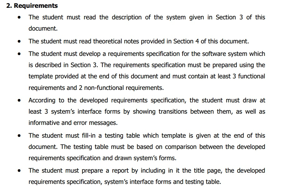 Solved The Student Must Read The Description Of The Syste