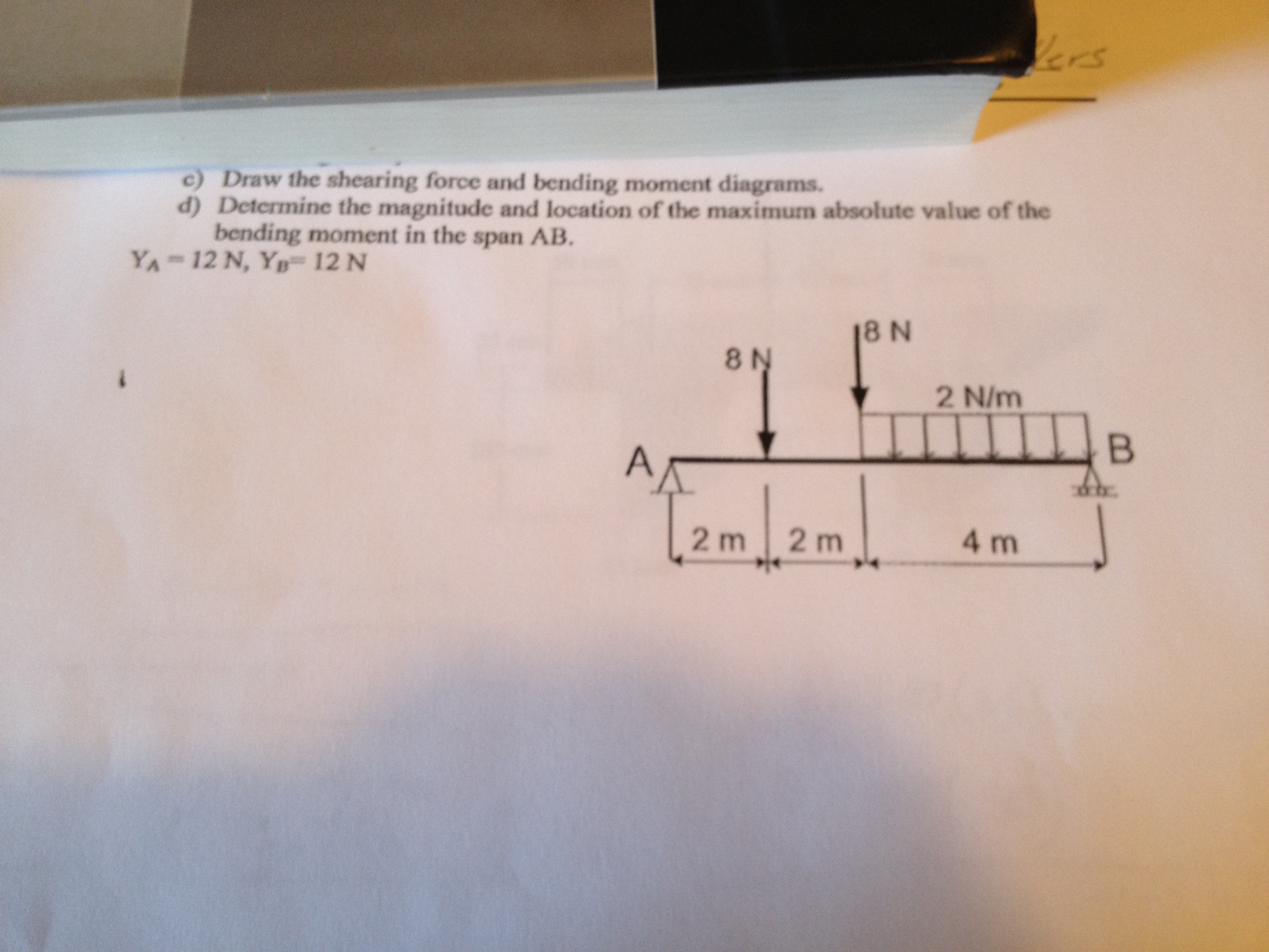 Solved Draw The Shearing Force And Bending Moment Diagram Shear Diagrams