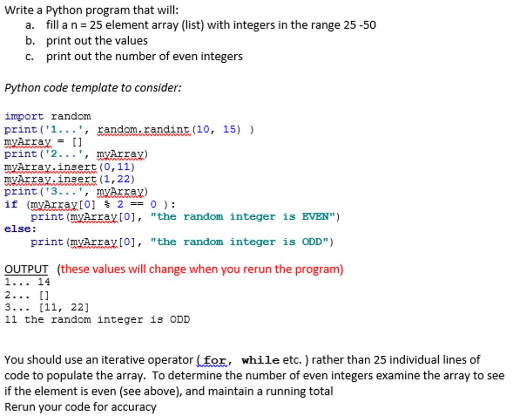 Even number program in python