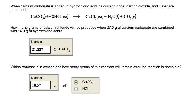 Solved: When Calcium Carbonate Is Added To Hydrochloric Ac