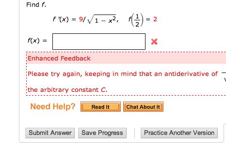 �9ᢹf�x�_Solved:FindF.F(x)=9/squareRoot1-x^2,F(1/2)=2F|Chegg.com