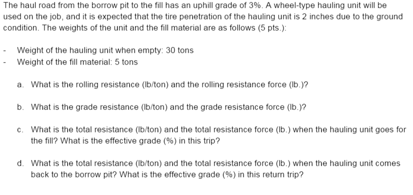 resistance Tire penetration and rolling