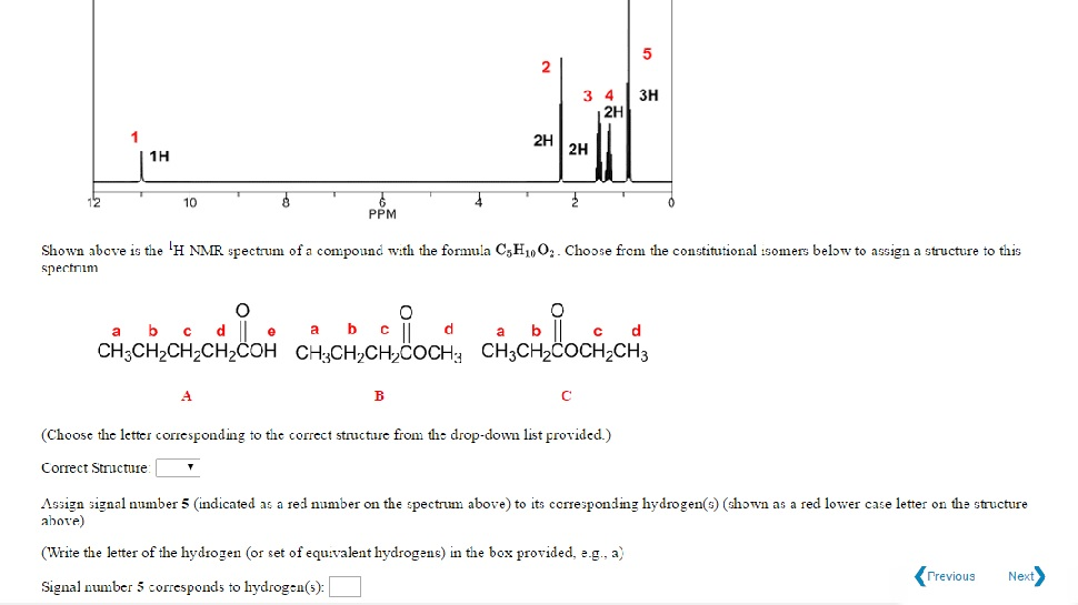 Solved: Shown Above Is The L^H NMR Spectrum Of A Compound ...