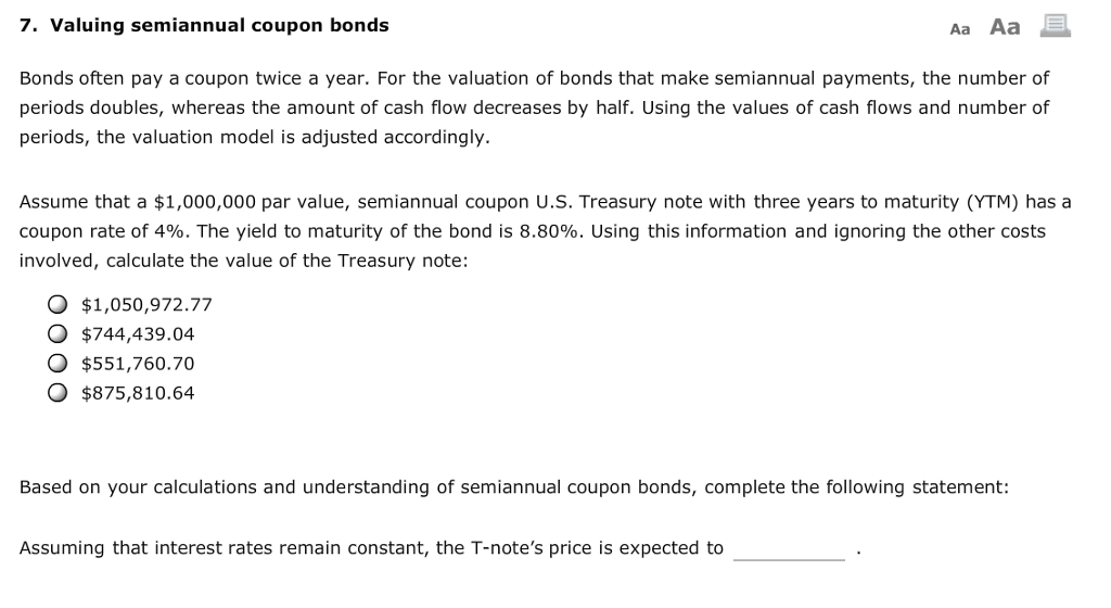 valuing semiannual coupon bonds
