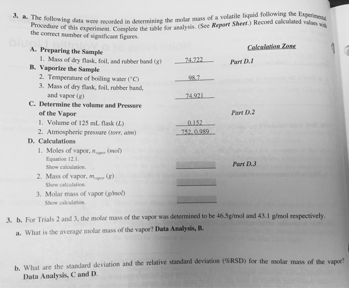 molar mass of a volatile liquid lab report answers Solved: Please Help (the Whole Thing) And Show Me How You ...